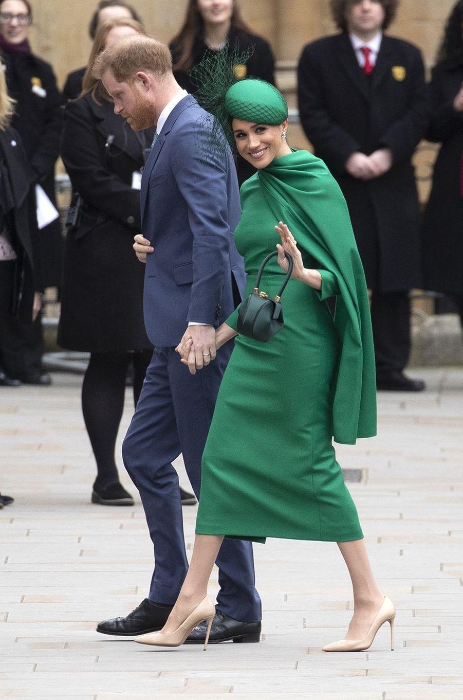 Meghan Markle avec le prince Harry lors des célébrations de la Journée du Commonwealth à Londres en mars 2020