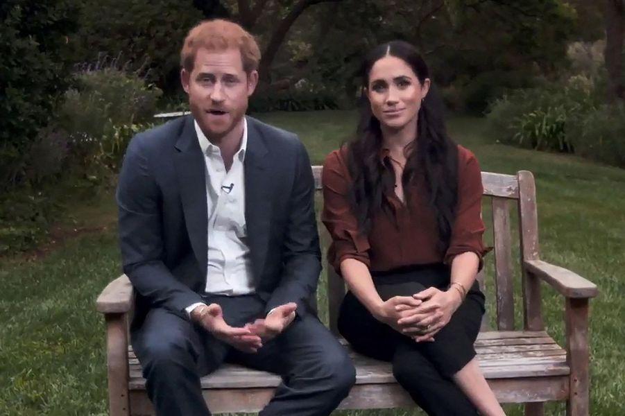 Meghan Markle avec le prince Harry lors d'une vidéo pour la chaîne ABC tournée pour encourager les Américains à voter lors de l'élection présidentielle, en septembre 2020