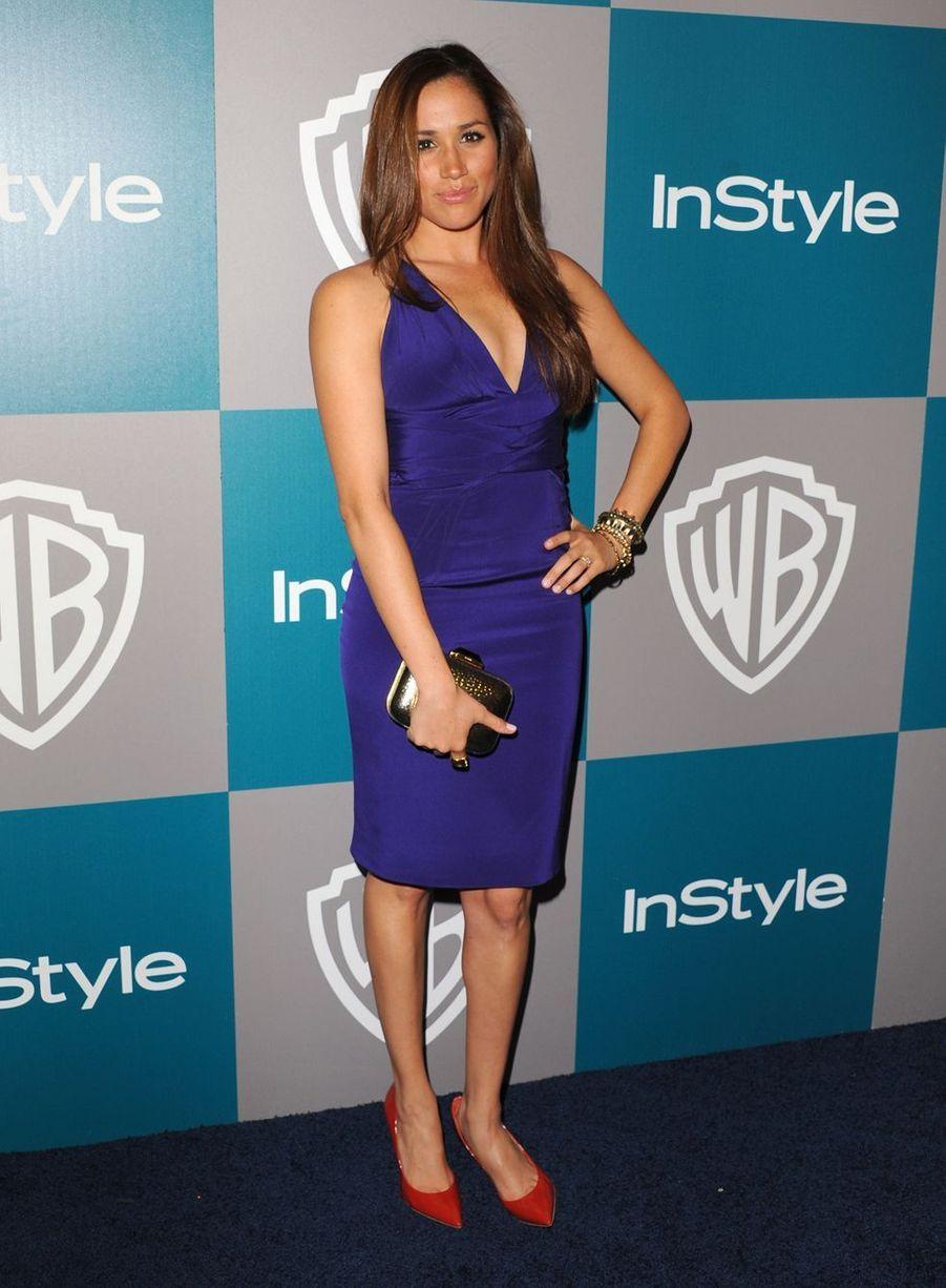 Meghan Markle à l'after-party des Golden Globes organisée par la Warner Bros. et «InStyle» au Beverly Hilton à Los Angeles en janvier 2012.