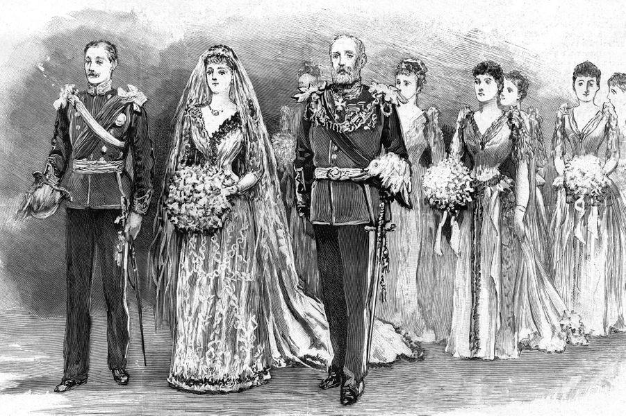Gravure figurant le mariage de la princesse Marie-Louise Schleswig-Holstein (petite-fille de la reine Victoria) et le prince Aribert d'Anhalt le 6 juillet 1891