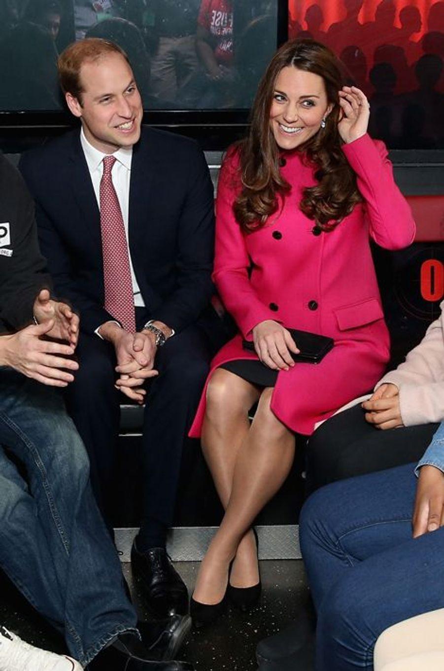 Kate et le prince William dans le studio d'enregistrement mobile de XLP à Gipsy Hill, le 27 mars 2015