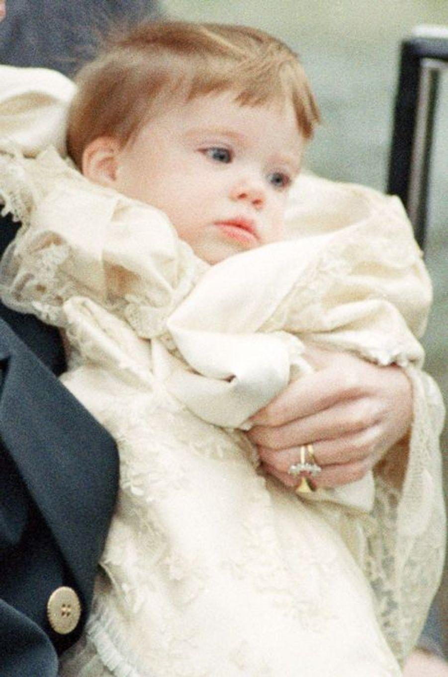 La princesse Eugénie d'York à 9 mois, le 23 décembre 1990