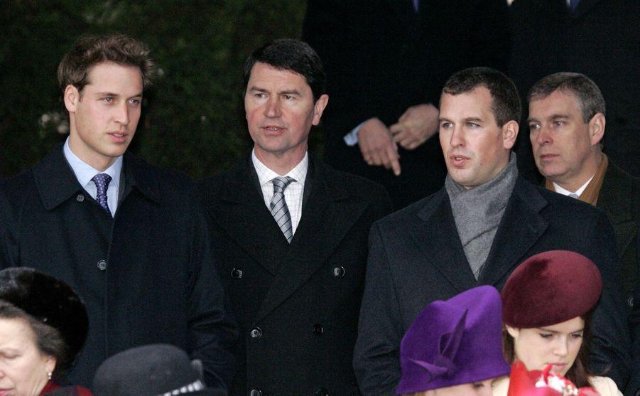 Timothy Laurence et la famille royale britannique, le 25 décembre 2005