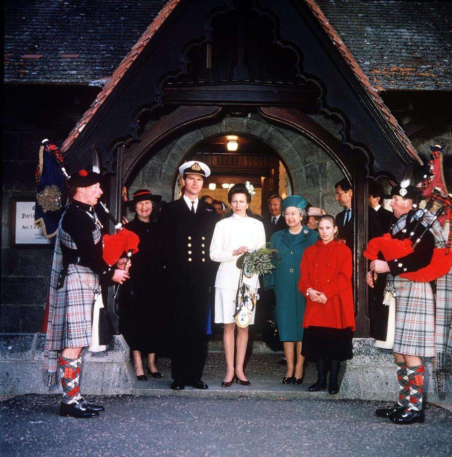 Timothy Laurence et la princesse Anne lors de leur mariage, le 12 décembre 1992