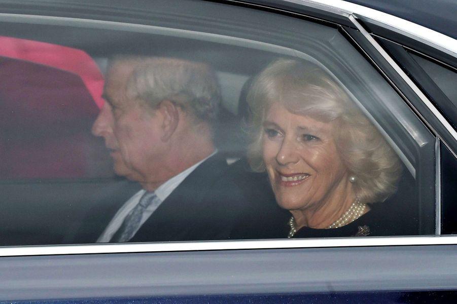 Le prince Charles et la duchesse de Cornouailles Camilla à Londres, le 16 décembre 2015