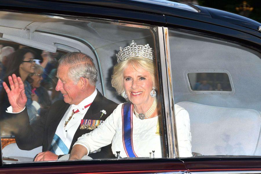 La duchesse de Cornouailles Camilla et le prince Charles à Londres, le 12 juillet 2017
