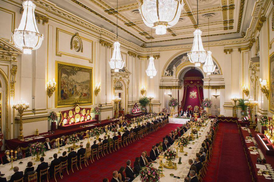 Le banquet d'Etat donné par la reine Elizabeth II au roi Felipe VI et à la reine Letizia d'Espagne à Londres, le 12 juillet 2017