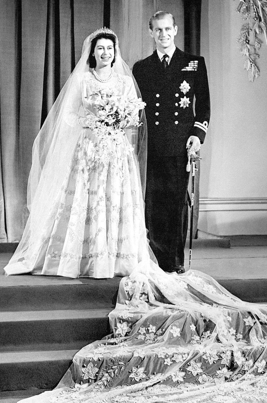 La princesse Elizabeth et le prince Philip, le jour de leur mariage, le 20 novembre 1947