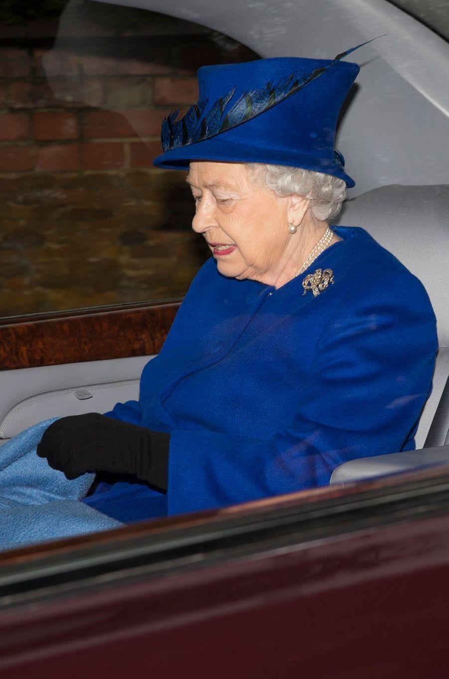 La reine Elizabeth II à Sandringham, le 8 janvier 2017