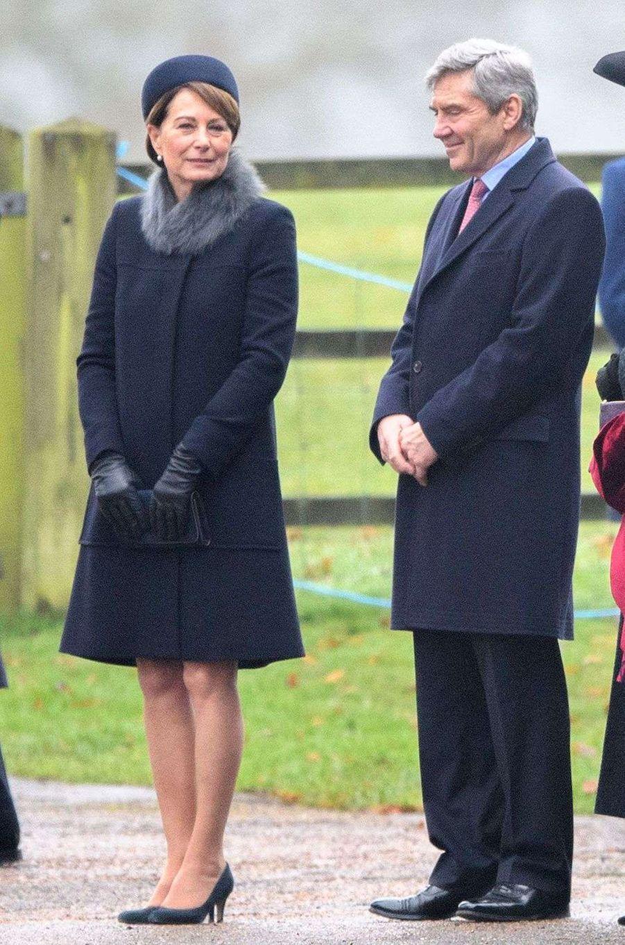 Carole et Michael Middleton à Sandringham, le 8 janvier 2017