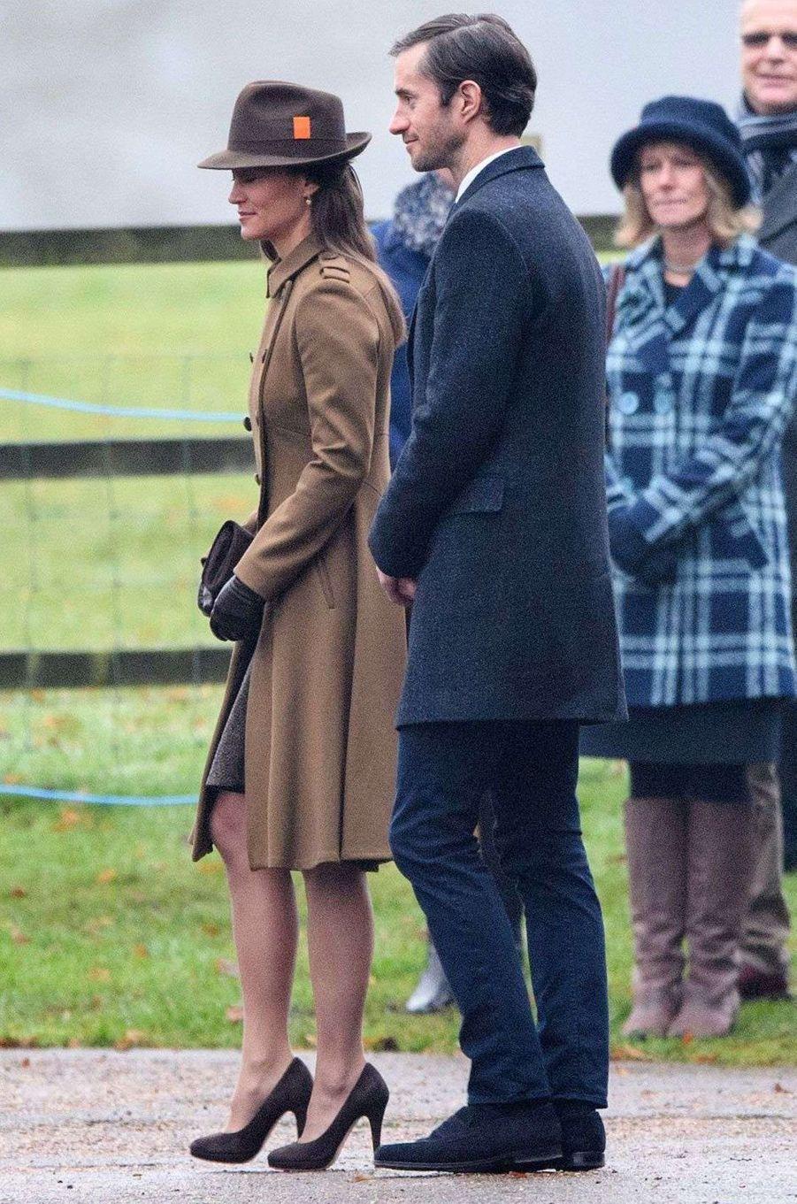 Pippa Middleton et son fiancé James Matthews à Sandringham, le 8 janvier 2017