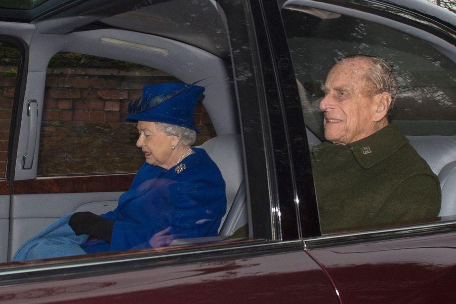 La reine Elizabeth II et le prince Philip à Sandringham, le 8 janvier 2017