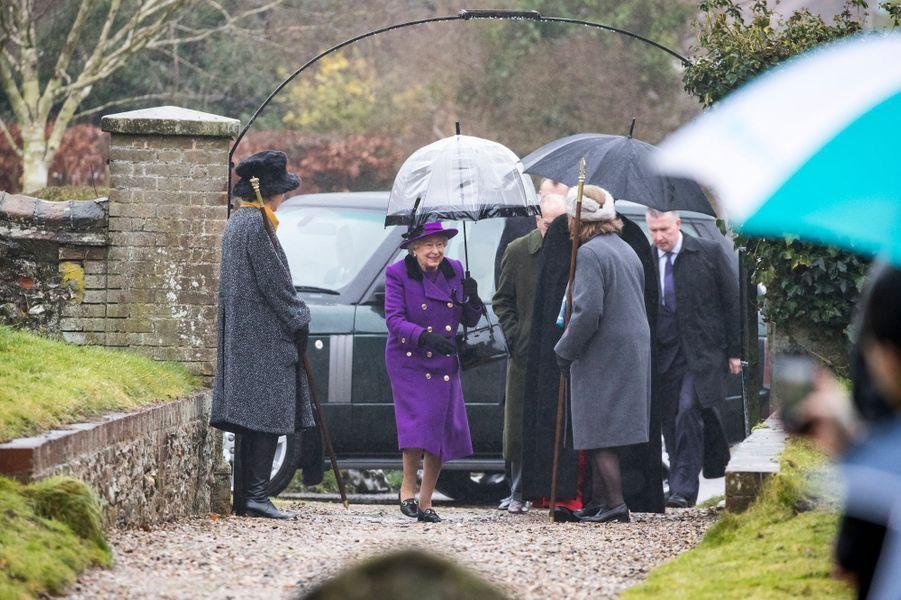 La reine Elizabeth II à Flitcham dans le Norfolk, le 15 janvier 2017