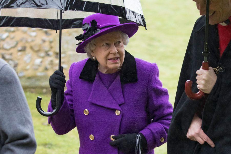 La reine Elizabeth II à Flitcham, le 15 janvier 2017