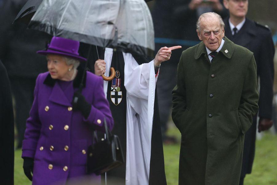 La reine Elizabeth II et le prince Philip à Flitcham, le 15 janvier 2017