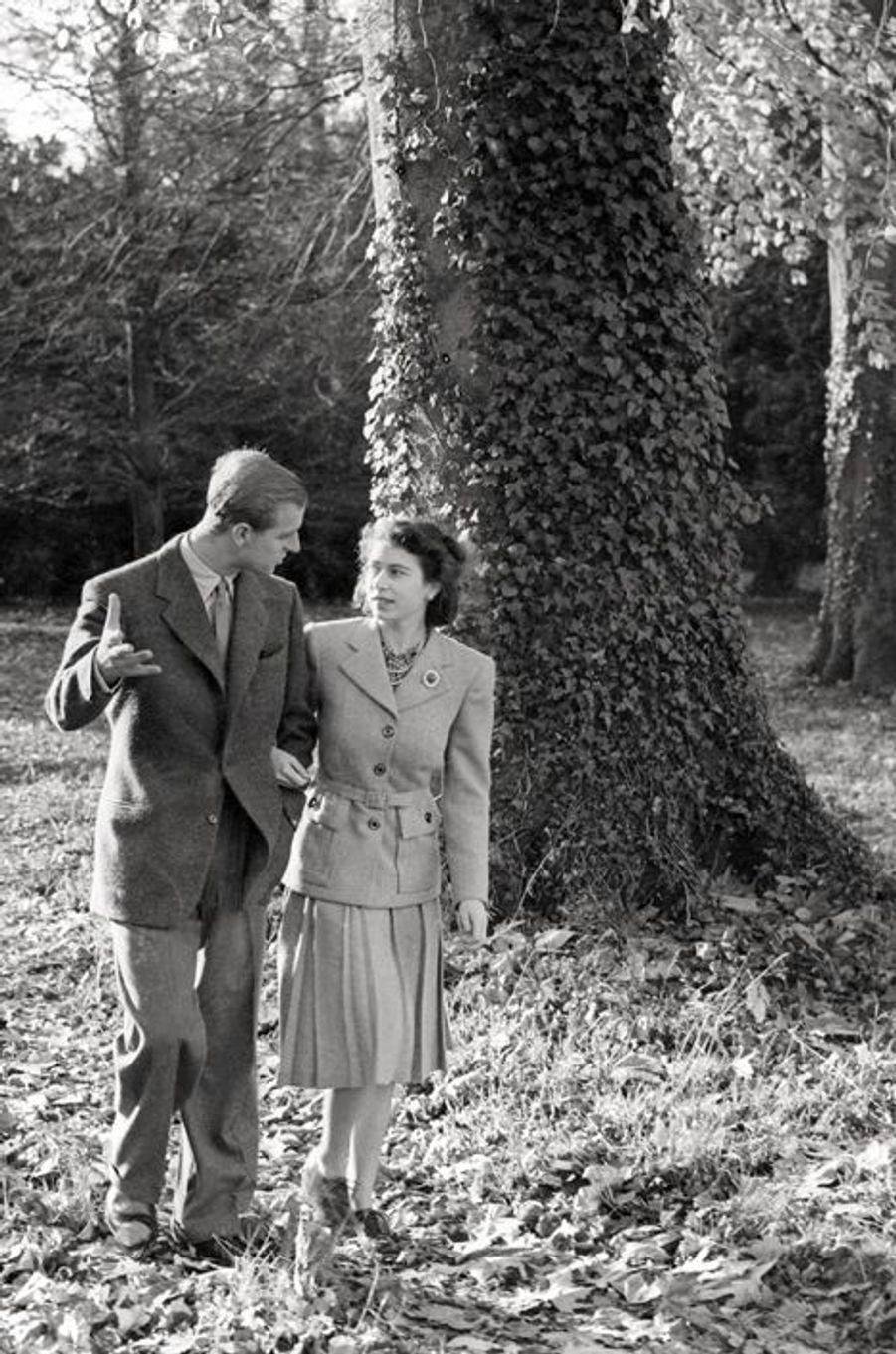La princesse Elizabeth avec le prince Philip, en novembre 1947