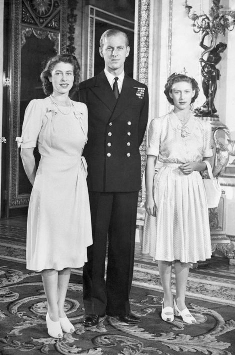 La princesse Elizabeth avec le prince Philip et la princesse Margaret, le 5 septembre 1947
