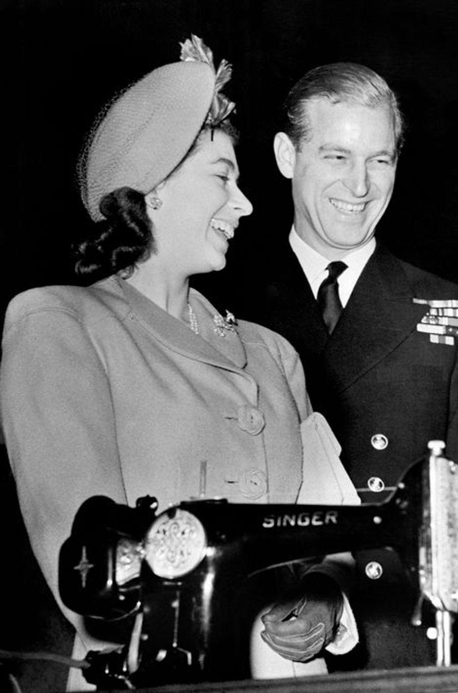 La princesse Elizabeth avec le prince Philip, le 31 octobre 1947