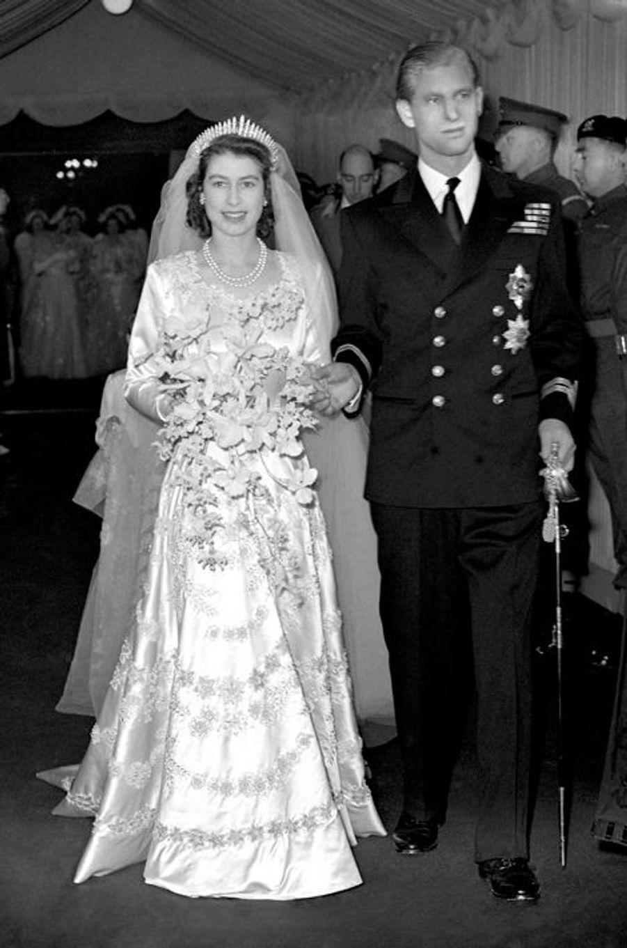 La princesse Elizabeth et le prince Philip le jour de leur mariage, le 20 novembre 1947