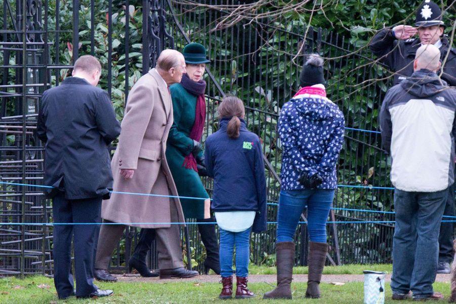 Le prince Philip et la princesse Anne à Sandringham, le 31 décembre 2017