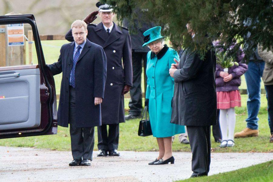 La reine Elizabeth II à Sandringham, le 31 décembre 2017