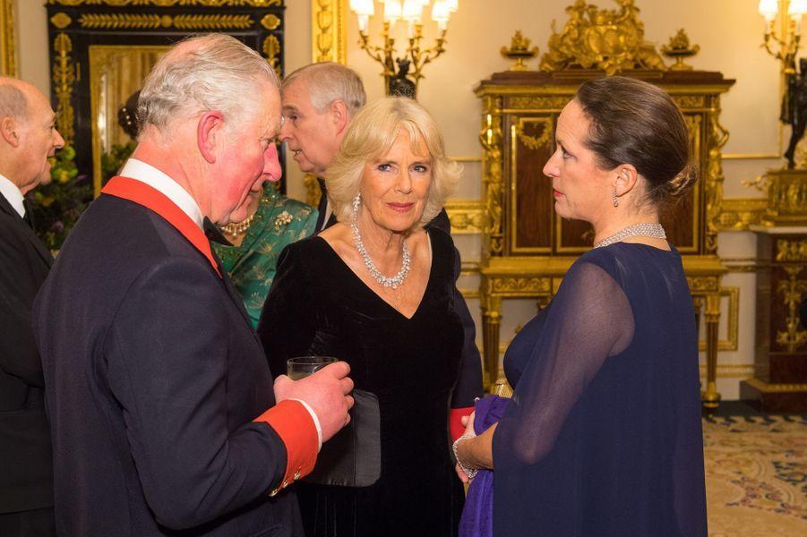 Le prince Charles et la duchesse de Cornouailles Camilla avec la princesse Zahra Aga Khan à Windsor, le 8 mars 2018