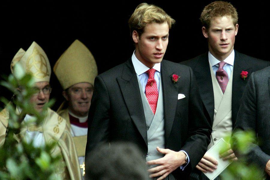 Les princes William et Harry au mariage de Lady Tamara Grosvenor, le 6 novembre 2004