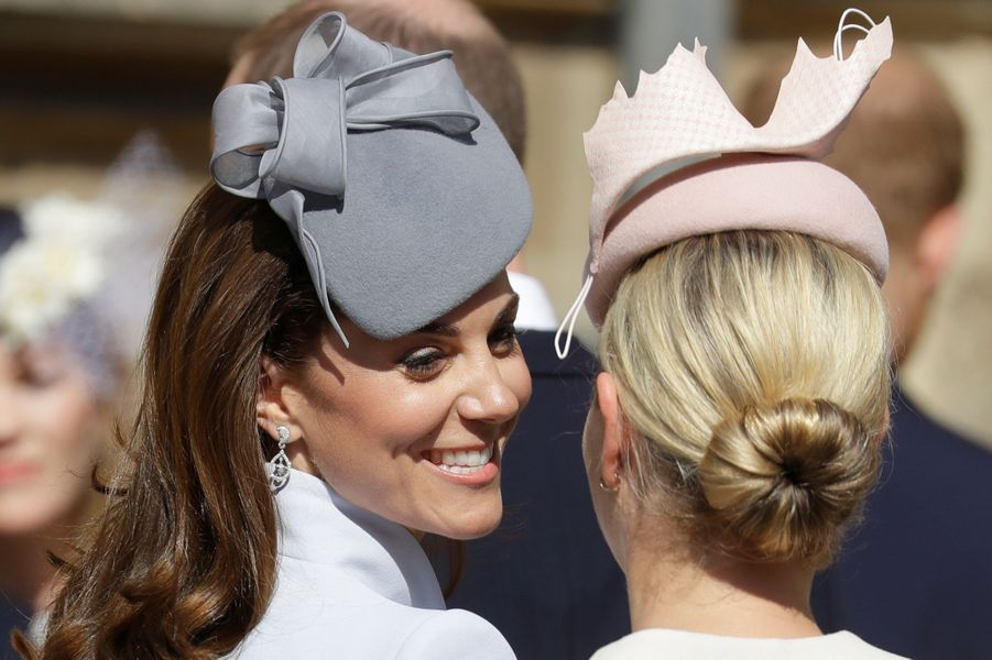 Kate Middleton, duchesse de Cambridge, et Zara Phillips à Windsor, le 21 avril 2019