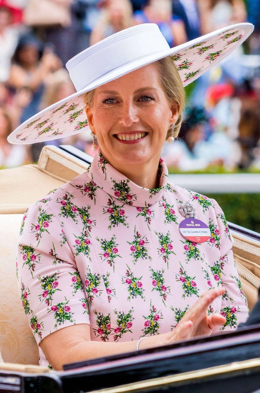 Le chapeau de la comtesse Sophie de Wessex au Royal Ascot, le 18 juin 2019