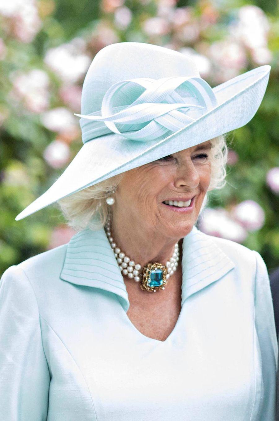 Le chapeau de la duchesse de Cornouailles Camilla au Royal Ascot, le 19 juin 2019