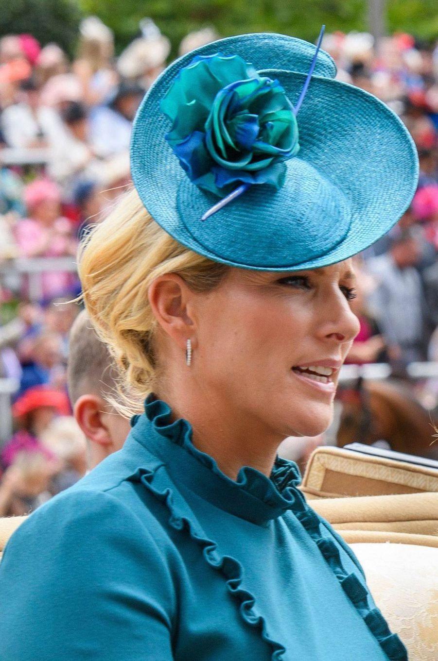 Le chapeau de Zara Phillips au Royal Ascot, le 20 juin 2019