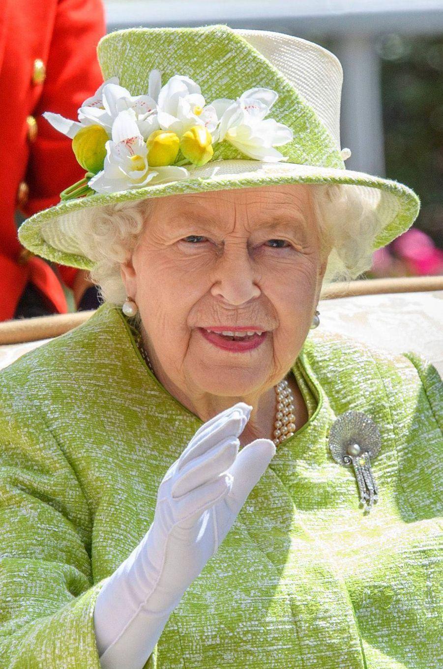 Le chapeau de la reine Elizabeth II au Royal Ascot, le 22 juin 2019