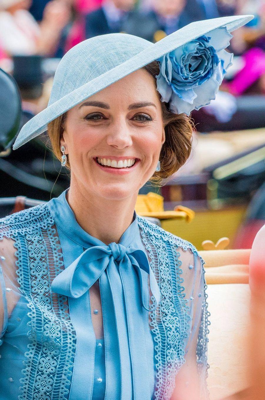 Le chapeau de Kate Middleton, duchesse de Cambridge, au Royal Ascot, le 18 juin 2019