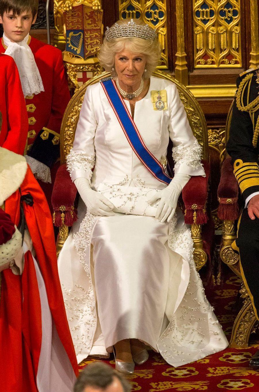 La duchesse de Cornouailles Camilla au Parlement à Londres, le 18 mai 2016