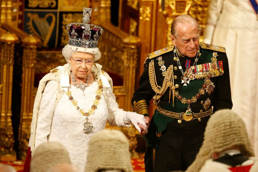 La reine Elizabeth II et le prince Philip au Parlement à Londres, le 18 mai 2016