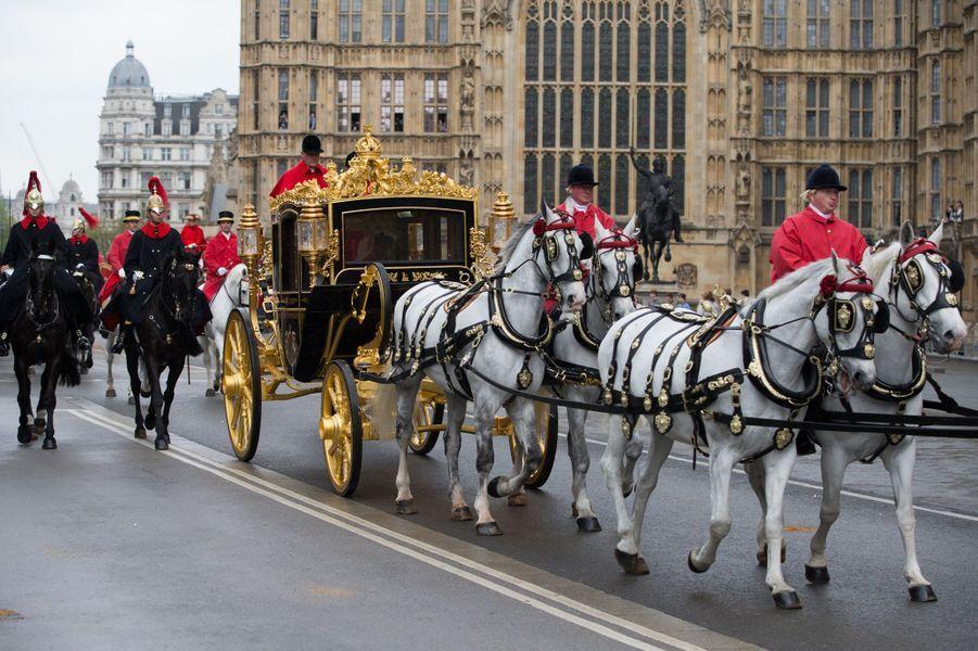 Le carrosse de la reine Elizabeth II à Londres, le 18 mai 2016