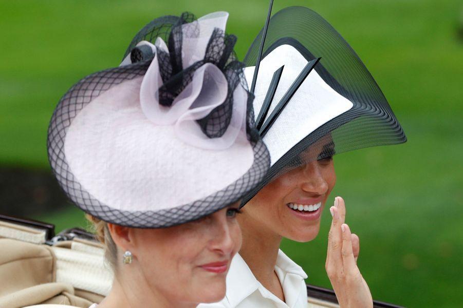 La comtesse Sophie de Wessex et Meghan Markle, duchesse de Sussex, au Royal Ascot, le 19 juin 2018