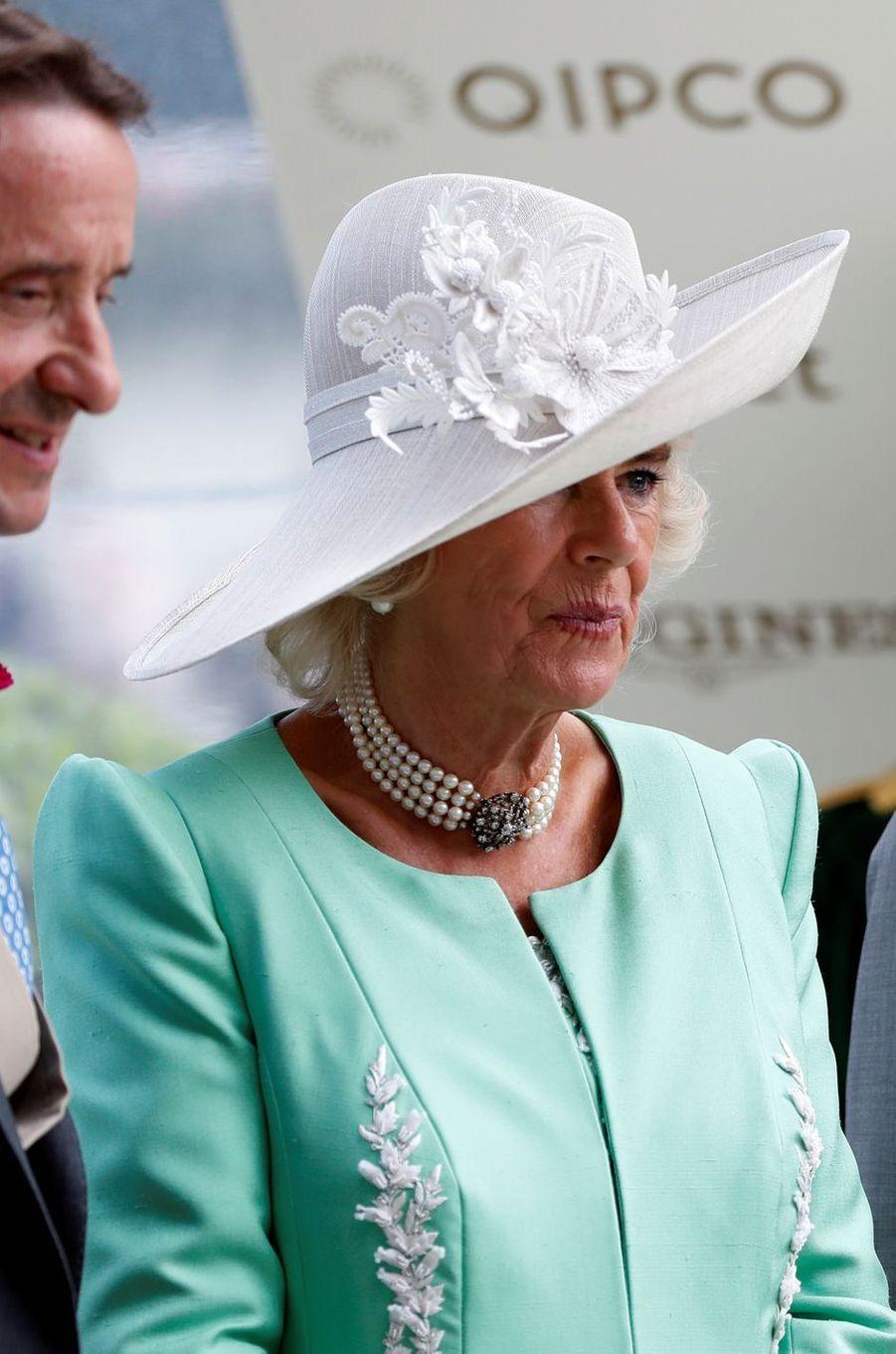 La duchesse de Cornouailles Camilla au Royal Ascot, le 20 juin 2018