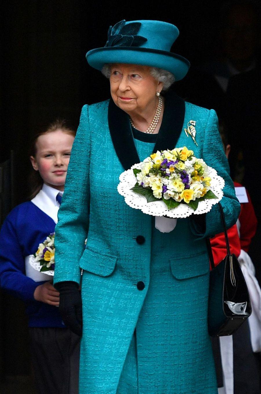 La reine Elizabeth II à Leicester, le 13 avril 2017