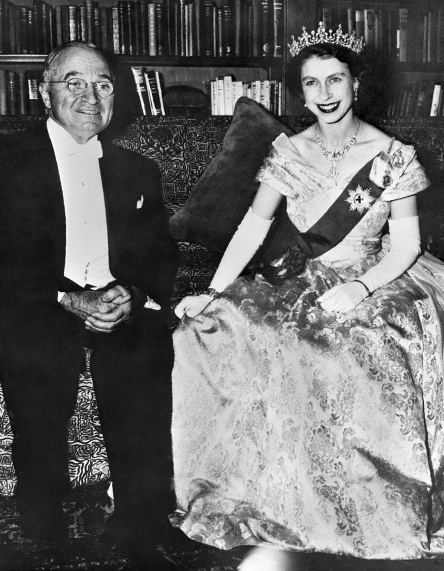 La princesse Elizabeth avec Harry Truman à Washington en octobre 1951