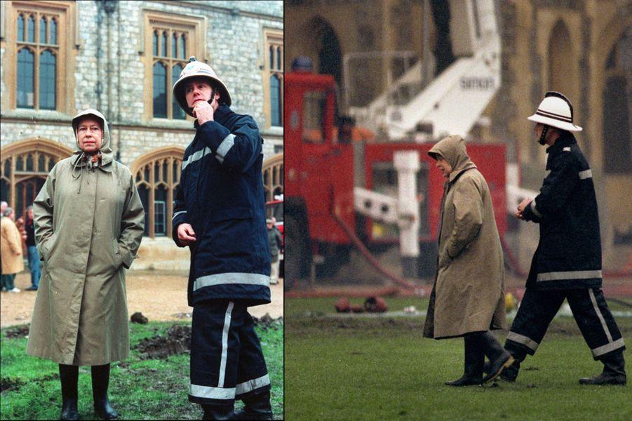 La reine Elizabeth II au lendemain de l'incendie du Château de Windsor (novembre 1992)