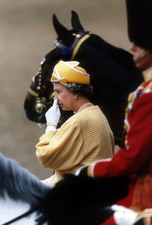 La reine Elizabeth II au Trooping the Colour (juin 1991)