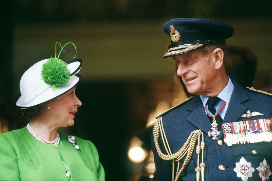 La reine Elizabeth II avec le prince Philip à Londres (juin 1991)