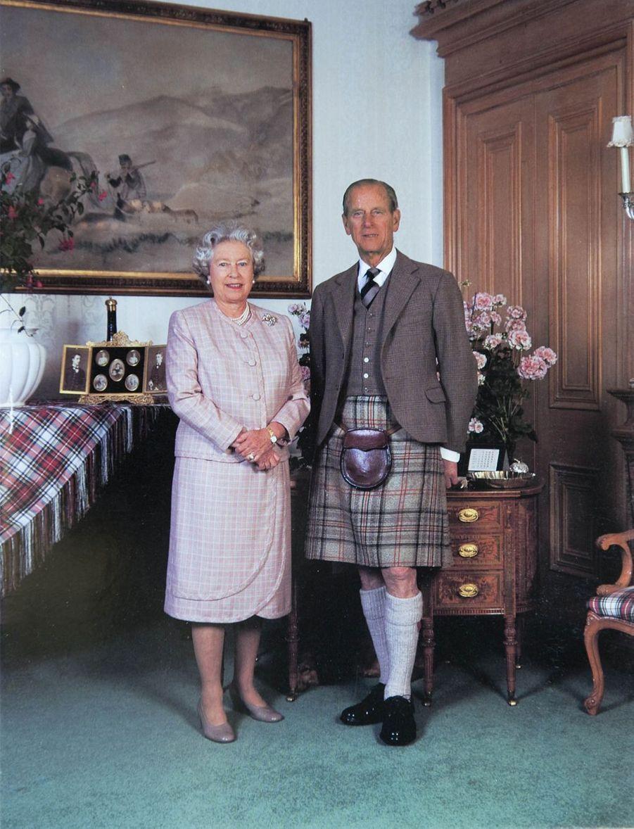 La reine Elizabeth II avec le prince Philip à Sandringham (noël 1995)