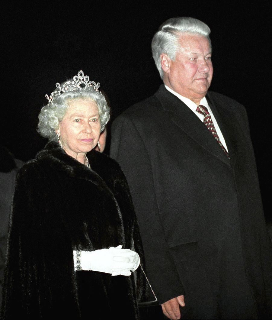 La reine Elizabeth II et le Président russe Boris Eltsine à Londres (octobre 1994)