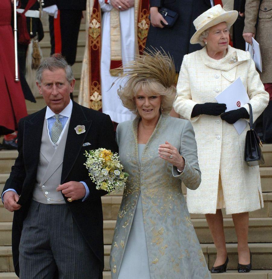 La reine Elizabeth II, après le mariage de son fils Charles avec son amour de toujours, Camilla, à Windsor (avril 2005)