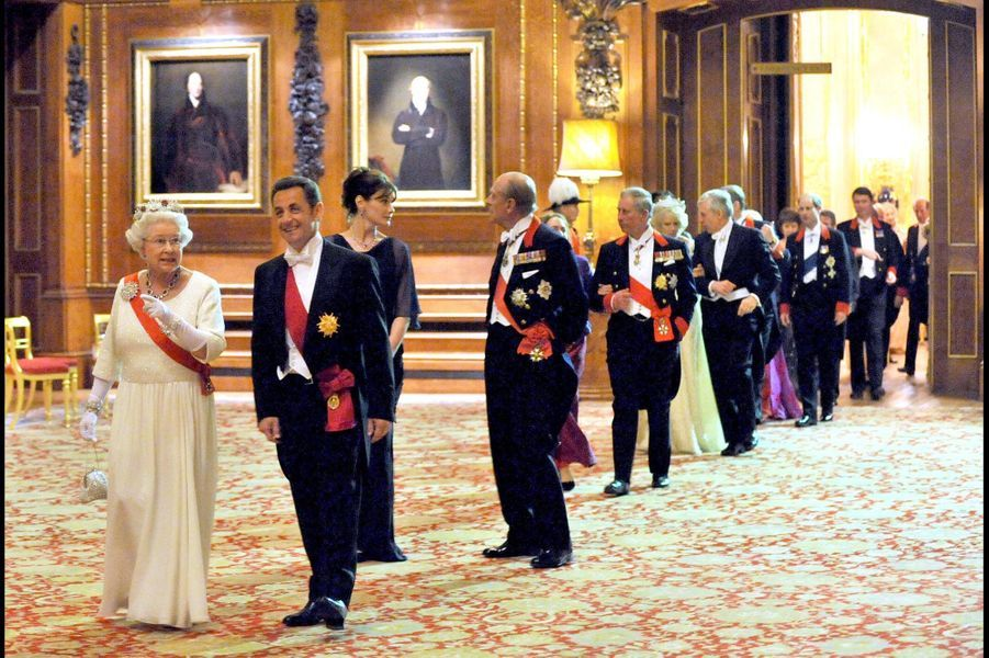 La reine Elizabeth II reçoit Nicolas Sarkozy à Windsor (mars 2008)