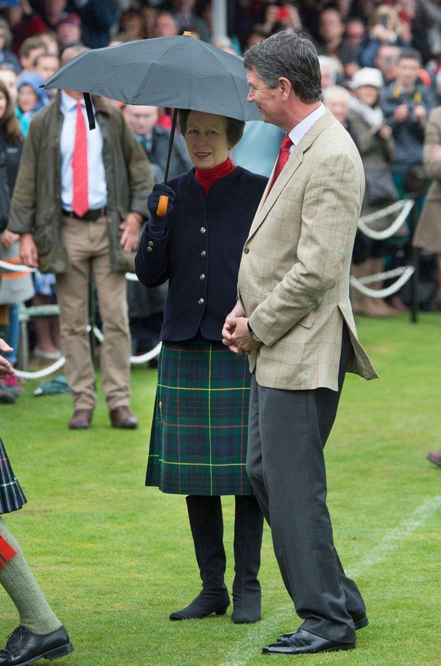 La princesse Anne et son mari Timothy Laurence à Braemar, le 3 septembre 2016