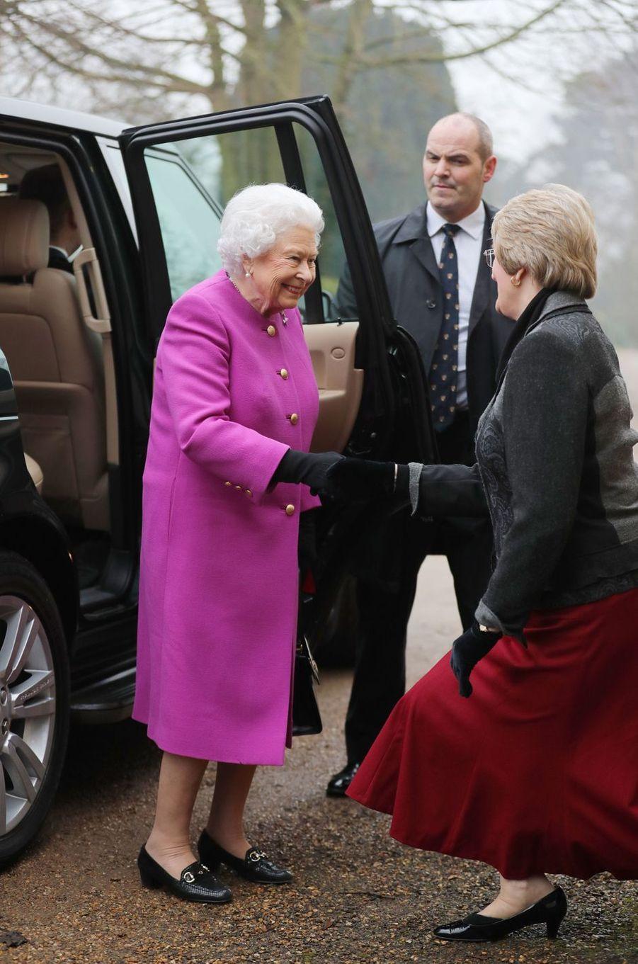 La reine Elizabeth II à West Newton près de Sandringham, le 19 janvier 2017