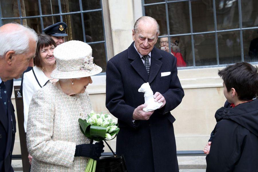 La reine Elizabeth II et le prince Philip à Londres, le 28 février 2017